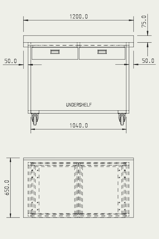 Engineering drawing of bespoke table part 1