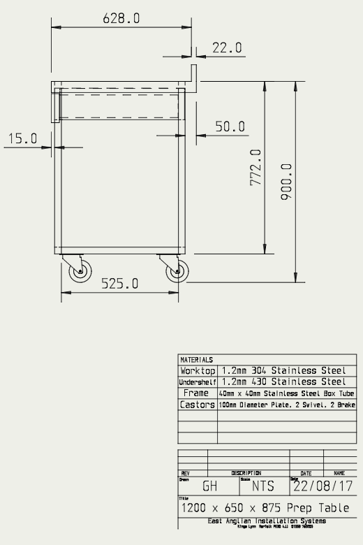 Engineering drawing of bespoke table part 2