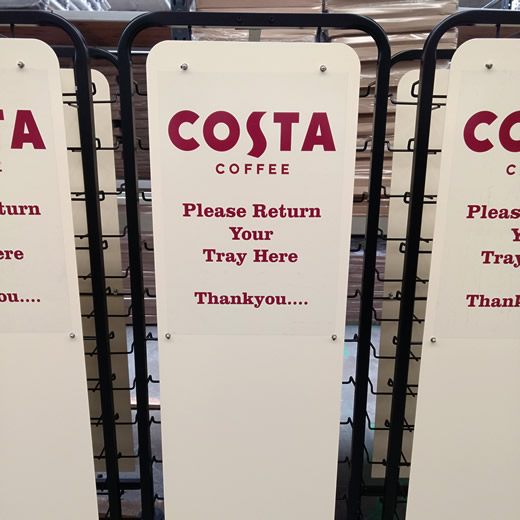 Tray clearing trolleys, personalised with Costs Coffee branding