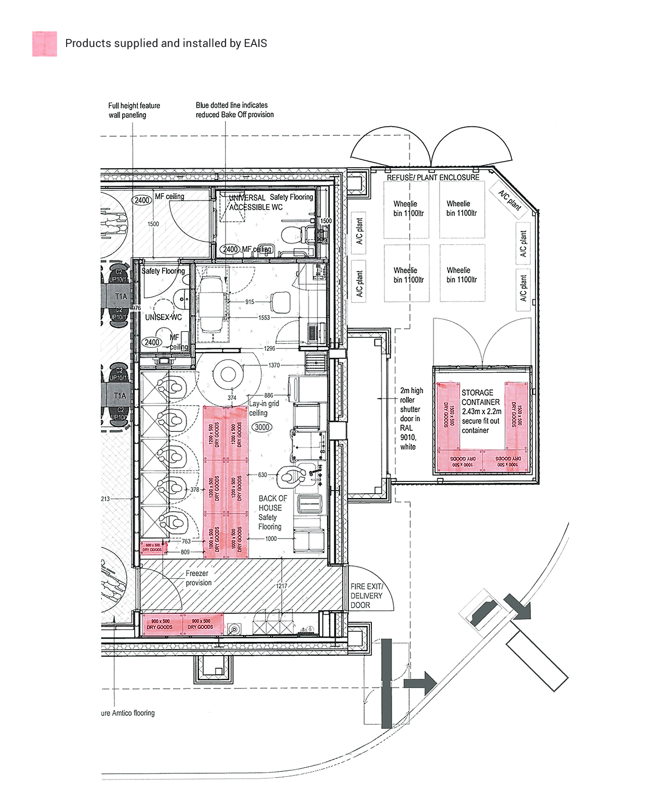 Floor plan os Costa's cafe at Necton