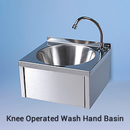 Photo of a knee operated wash hand basin as supplied to Pizza Hut